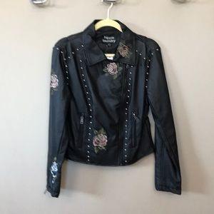 hippie laundry black leatherette jacket